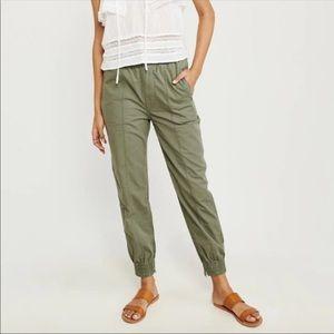 Abercrombie & Fitch Green Linen Jogger Pants